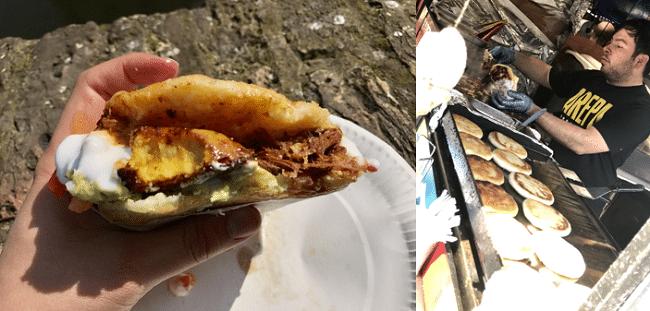 ארפה – אוכל רחוב ונצואלי. המנה הזו, שקוראים לה Pabellon, גרמה לי להבין שלא הכל גרוע בארץ מוכת הסוציאליזם והשטרות חסרי הערך. מדובר במעין ׳פיתה׳ מטוגנת שעשויה מתירס, וממולאת בין השאר בבשר בקר גרוס, גבינה מותכת, אבוקדו, סלט עגבניות, שעועית שחורה ופלנטיין (למי שלא מכיר, מעין בננה לא מתוקה שעושים ממנה צ׳יפס), ומעל לכל אפשר להוסיף שמנת עם טעם של שום או . השילוב קטלני ואני מכתיר את המנה כאחת מהמוצלחות שאכלתי בלונדון ובכלל.