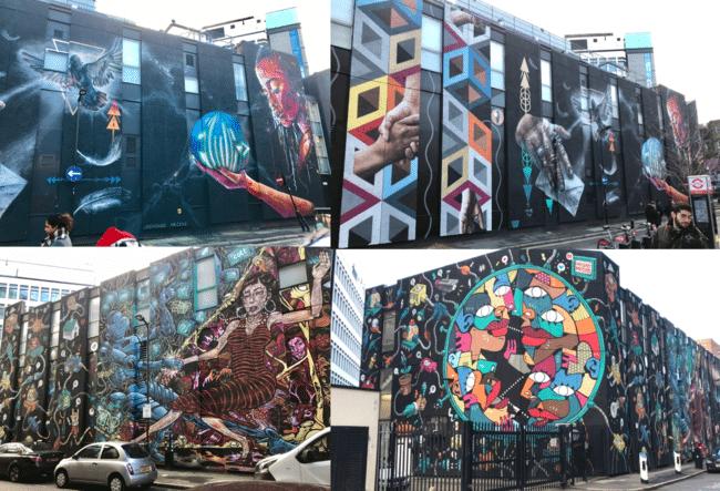יצירה ענקית של 16 אמני רחוב שונים. הבניין ברחובות King John Court ו-New Inn Yard