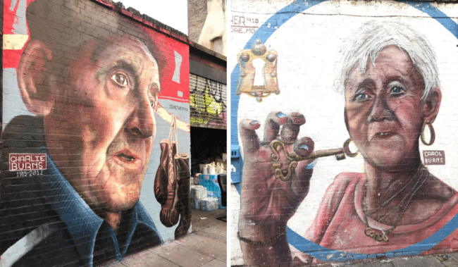מחווה לתושבי השכונה צ׳ארלס וקרול ברנס ברחוב Bacon