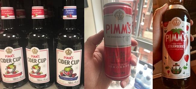מוצרים נוספים של פימ'ז. מימין – פימ'ז תות-נענע, פחית מוכנה של קוקטייל פימ'ז וסיידרים