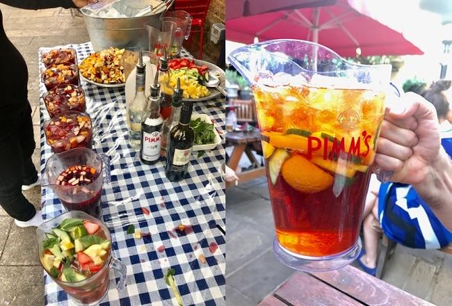 קנקן פימ'ז בחצר בירה לצד דוכן פימ'ז ביום קיצי בבורו מרקט