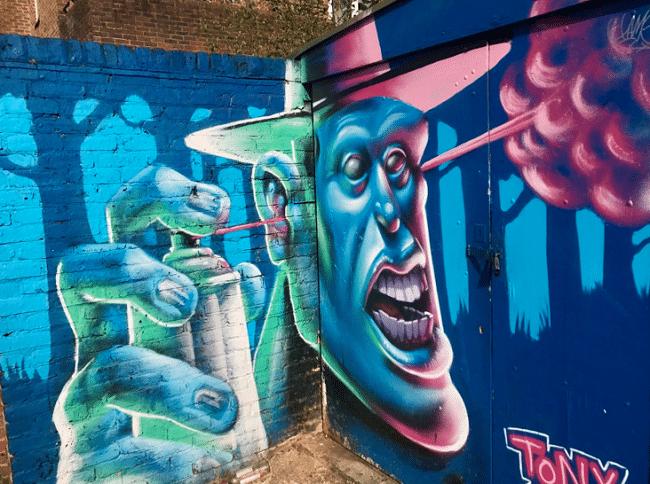 גרפיטי שיפוצץ לכם ת׳מוח. אחד ממיני קירות צבעוניים בקמדן
