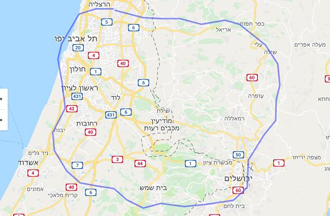 גודל לונדון לעומת ישראל