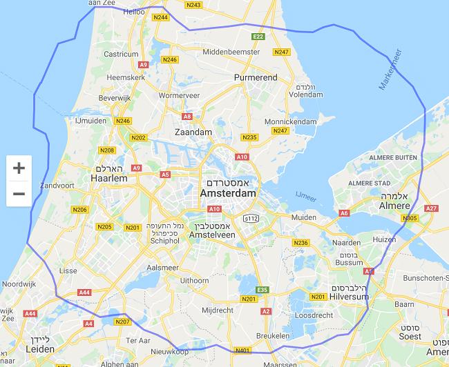 גודל לונדון רבתי מול אמסטרדם