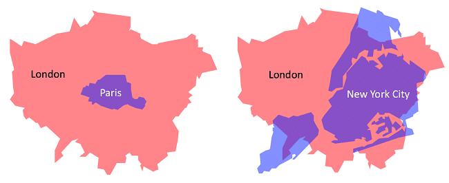 השטח של לונדון על גבי השטח של העיר ניו-יורק (ימין) והשטח של פריז (שמאל)