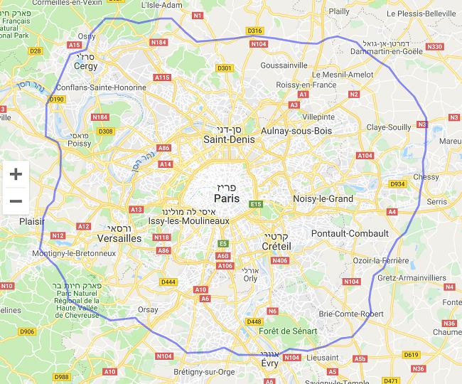 לונדון רבתי על פני אזור פריז