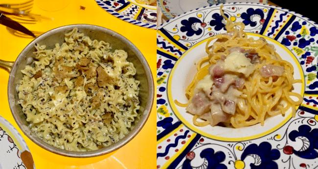 מימין: קרבונרה, משמאל: פסטה מפלדינה עם כמהין
