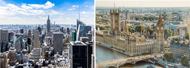 נופי לונדון מימין ונופי ניו יורק משמאל