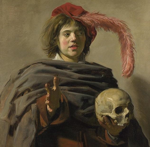 עלם צעיר עם גולגולת, יצירה של פרנס הלס בסגנון Memento mori בגלריה לאומנות בלונדון - שמן על קנבס