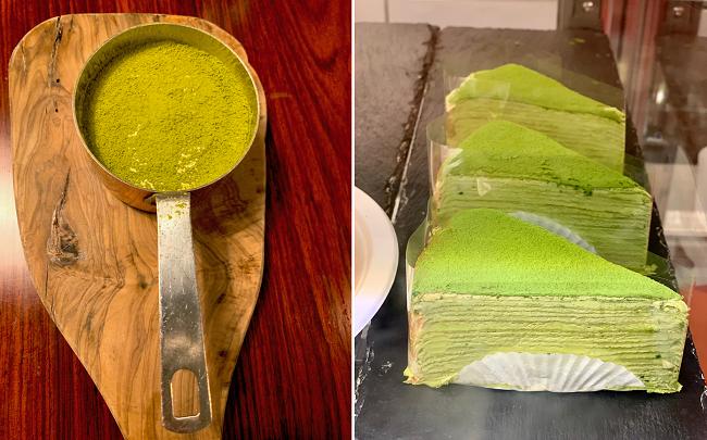 מימין עוגת קרפים-מאצ׳ה. משמאל מאצ׳ה טירמיסו