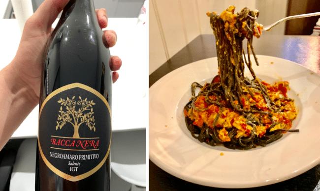 מימין: לינגוויני דיו שחור ובשר סרטנים. משמאל: יין מהמעולים ששתינו השנה