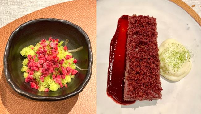 מימין - עוגת אוכמניות ובאטרמילק, משמאל – גרניטה בזיליקום תאילנדי ופטל