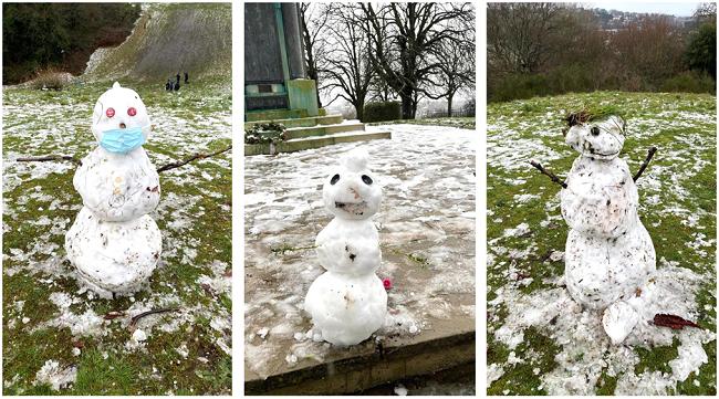אנשי שלג בפארק שליד הבית שלנו