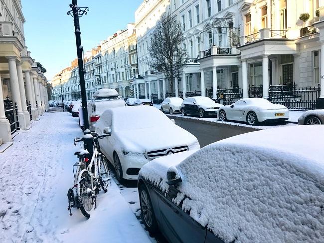מחזה נדיר למדי. שכונת קנזינגטון בשלג בשנת 2018