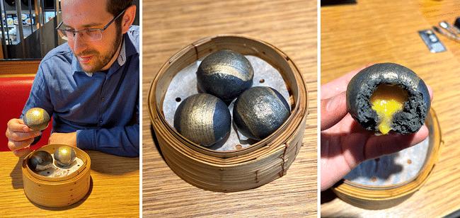 לחמניות מאודות אפורות-זהובות (פחם וזהב) במילוי חלמון נוזלי